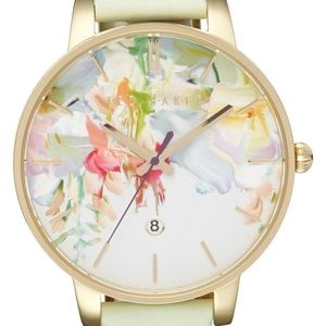 Ted Baker Mint Floral Gold Leather Watch